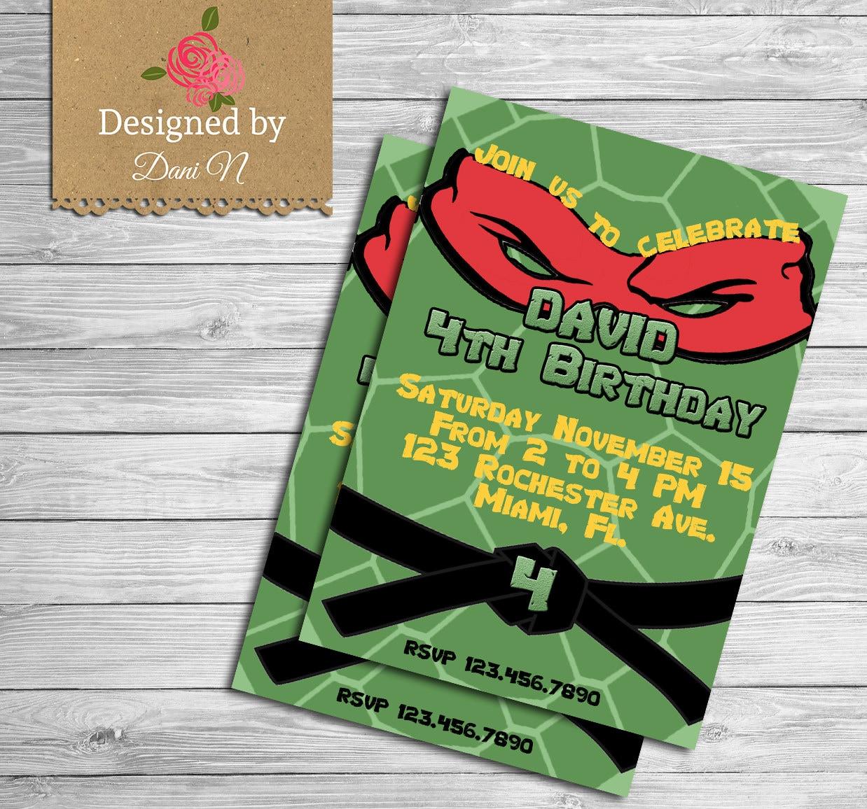 Ninja turtle Birthday Invitation Ninja party Teenage mutant