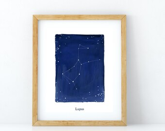 Zodiac, Lupus constellation, stars, cosmos, printable wall art, astrology