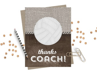 Thank You Coach Greeting Card / Coach Card / Thank You Volleyball Coach / Volleyball Coach Thanks / Volleyball Card
