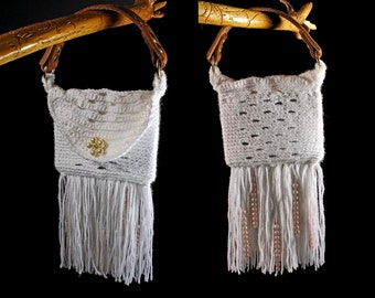 Top Handle Bag, Handbag, Boho Chic, Fringed and Beaded, White, Hand Tooled Leather Strap