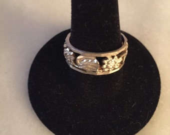 Vintage Sterling silver flower and vines ring