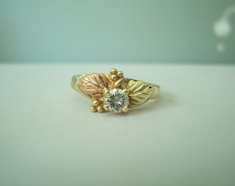 Fabulous Upcycled Vintage Natural Diamond Black Hills Gold Ring with Grapes and Leaves