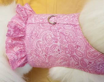 Pink Paisley Dog Harness with Ruffle