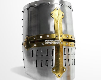 Functional Medieval Crusader New Knight's Helmet Steel w/ Leather Liner LARP SCA
