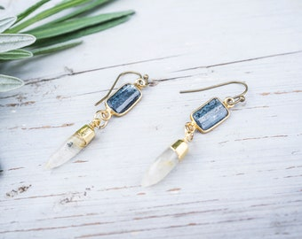 Quartz Point Earrings, Moss Kyanite, Gold Plated, Gemstone Pendant , Boho Earrings, Gemstone Earrings, Gypsy Style