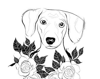 A5 floral dachshund dog art print