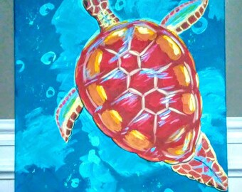 "16"" x 20"" Sea Turtle painting on stretched canvas."