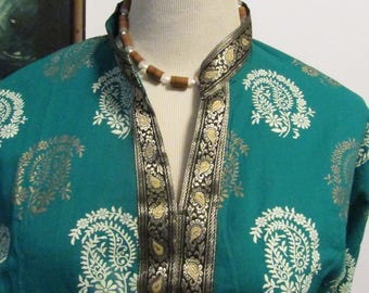 Vintage Made in India Nehru Collar Tunic Blouse Dress Coverup Bollywood Style