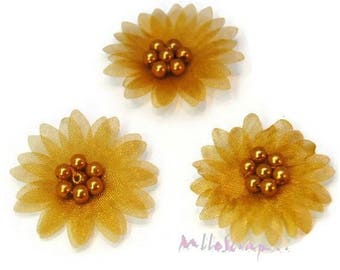 Set of 5 fabric organza, pearls gold flowers scrapbooking card (ref.310). *.