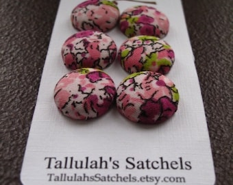 "Wearable Sew On Fabric Covered Buttons - Size 30 or 3/4"" Pink and Purple Flowers"