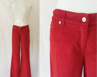 1990s vintage mens deadstock corduroy brown tuxedo stripe pants size medium 30x29 eWMJlc3Ciq