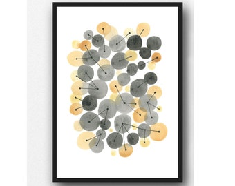 Gray yellow Watercolor painting, abstract watercolor ochre black, minimalist art, geometric circles, interconnected, wall art print