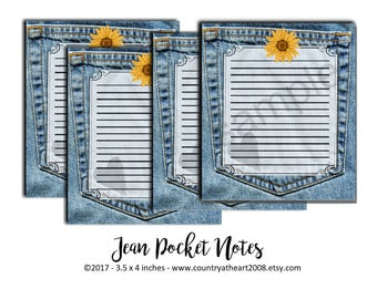 Instant Download  - Blue Jean Pocket Notes -  Digital Download - Printable  Digital Collage Sheet - Party Supplies