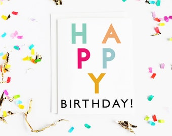 Happy Birthday Card | Blank inside | Colourful | Typography