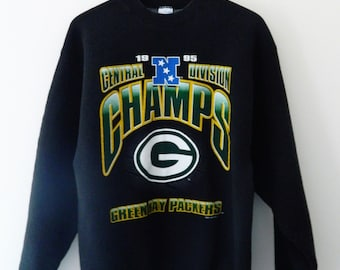 Vintage Green Bay Packers Sweatshirt // Black Packers Retro Central Division Champs Sweatshirt 1995