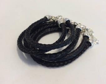 Black Horse Hair Braided Horsehair Bracelet - 6MM Round Braid