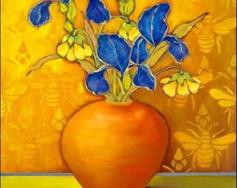 Iris with Bees, floral, still life, print, giclee, fine art, contemporary, blue, yellow, flowers, original, modern,