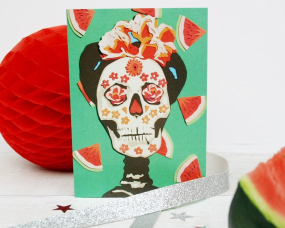 Frida kahlo with watermelons card day of the dead greetings m4hsunfo