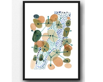 Watercolor painting Pebbles connected, abstract watercolor painting, natural  Art, watercolor Green brown