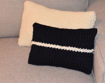 Eco Friendly Blue and White Striped Accent Pillow