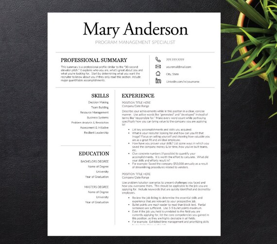 Resume Template for Word A4 Letter