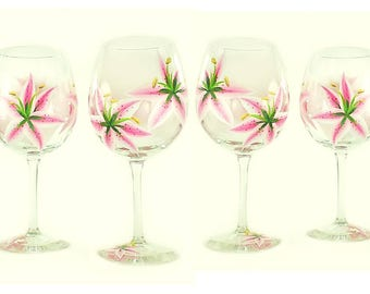 4 Hand-Painted Glasses - Pink Stargazer Lilies - Summer Hostess Housewarming Gift Wedding Gift