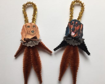 Long Haired DACHSHUND ornaments dog ORNAMENTS Doxie ornaments vintage style chenille ornaments set of 2