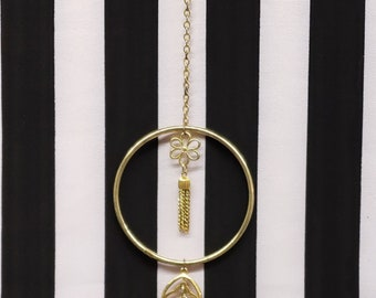 Gold Antique Victorian Chinese Inspired Recycled Jewelry Car Mirror Suncatcher/Dreamcatcher