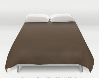 Solid Color BARK brown /  Duvet Cover or Comforter / Bedding Minimalist Modern Basic Art / Sizes Twin, XL Twin, Full, Queen, & King