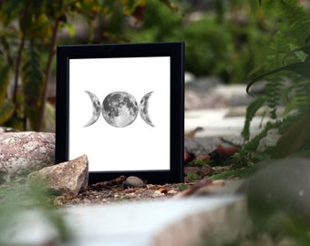 Triple Goddess Moon - Printable - Moon Phases - Triple Moon - Wiccan - Pagan - Witchcraft - Wicca - Home Decor - Wall Art - Occult Symbol