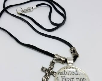 Upcycled Pendant Necklace-Vintage Necklace-Bible Verse Necklace-Cross Necklace-Inspirational Jewelry-Gift for Her-Affirmation Jewelry