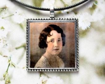 Silver Square Photo Charm. Necklace Pendant or Wedding Bouquet Memorial. CUSTOM #7.  Bridal Keepsake Gift Idea. Pet Photo Jewelry