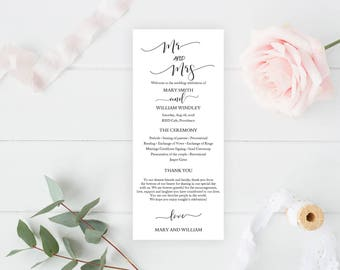 SALE! Wedding Program Template, Editable Wedding Programs, Instant Download, Custom Wedding Program Printable, DIY Ceremony Program inv00203