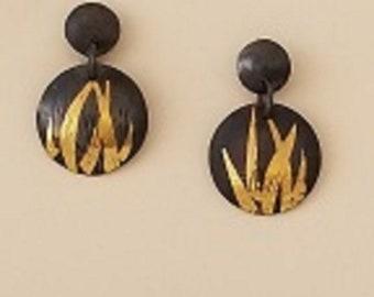 Keum boo earrings, fine silver, gold, sterling silver, post earrings
