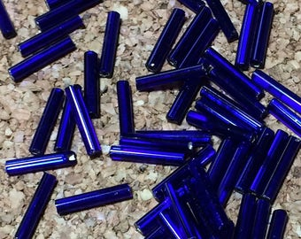 12mm Bugle Beads - Silver Lined Sapphire 20 grams