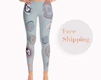 Light Leggings with Agate Print, Gift Ideas For Women, Spandex Tights, Unique Leggings, Designer Leggings, Boho Leggings, Printed Tights