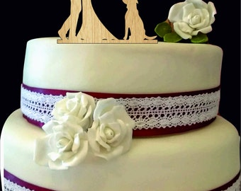 Silhouette Wedding Cake topper with dog, Bride and groom cake topper, Custom dog cake topper for wedding, Unique Rustic wedding cake topper