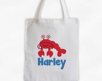 Personalized Lobster Canvas Tote Bag - Sea Animal Custom Travel Overnight Bag for Boys or Girls - Ocean Reusable Tote (3045)