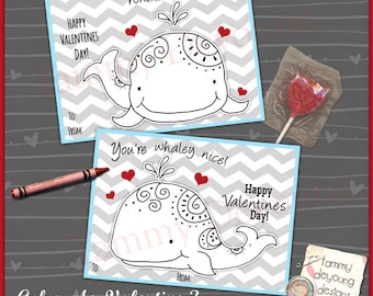 Coloring Valentine Cards for kids, Whale Valentines Day Tags,  DIY Printable Valentine for boys or girls, non-candy school Valentine card