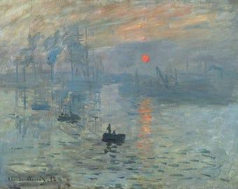 Vintage Impression Sunrise, Claude Monet Painting Fine Art Poster Monet Print Picture A3 A4