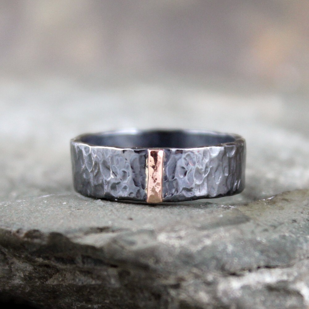 14K Rose Gold and Black Sterling Silver Band Flat Pipe Style
