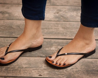 Black Sandals, Black Flip Flops, Flat Sandals, Summer Shoes , Free Shipping