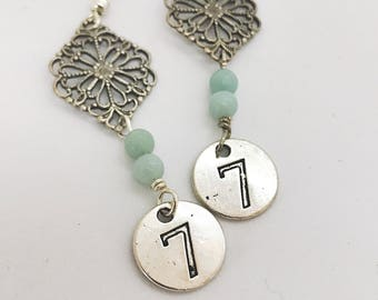 Lucky number earrings - number 7 -  amazonite earrings - number charms - silver blue green
