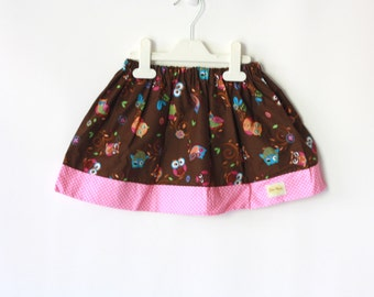 Owl Skirt, Girls Skirt, Brown and Pink Skirt, Play skirt, gathered toddler skirt