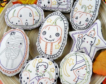Halloween spirit Ornaments embroidery Pattern PDF - WITCH  prim stitchery primitive ornies Frankenstein bowl fillers