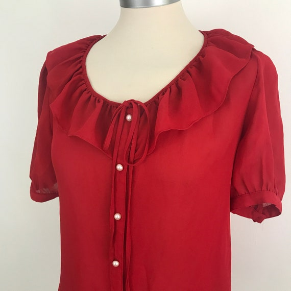 Vintage blouse, red chiffon, frilly collar, pearl buttons, vintage shirt, sheer crepe chiffon, 1960s style, lolita, kawaii, mad men, Joan,