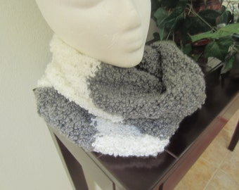 Gray And White Crochet Cowl