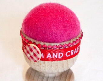 Pin Cushion, egg cup, pin keeper, pin holder, sewing accessory