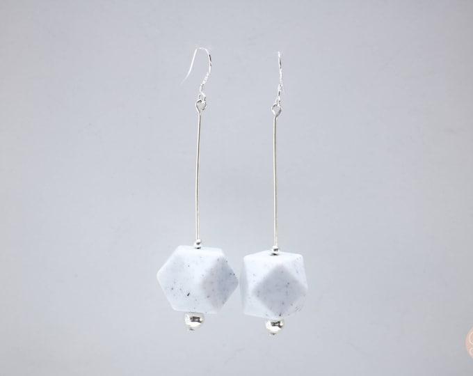 Granite Black and White Big Speckled Drop Earrings.