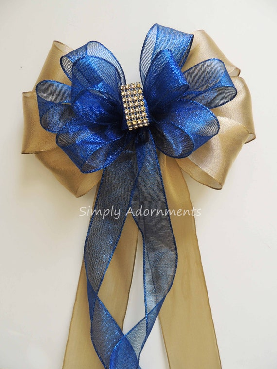 Gold Royal blue Wedding Pew Bow Gold Blue Wedding Church Aisle Pew Bow Royal Blue Gold Bridal Shower Bow Blue Gold Graduation Party Decor